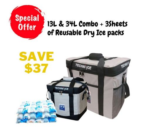 Techni Ice 13L & 34L Cooler Bag + 3 Sheets of Reusable Dry Ice Packs