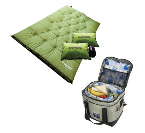 Self Inflating Double Mattress + 2 Pillows + 23L High Performance Cooler bag