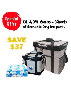 Techni Ice 13L & 34L Cooler Bag + 3 Sheets of Reusable Dry Ice Packs *Late-November Dispatch