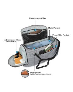 Heavy Duty Deluxe Traveler's Choice Bag with Shoe Compartment (Grey; Large)