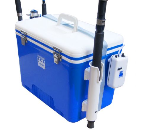 Portable Live Bait Box 18L White Blue + Fishing Rod Holders + Air-compressor