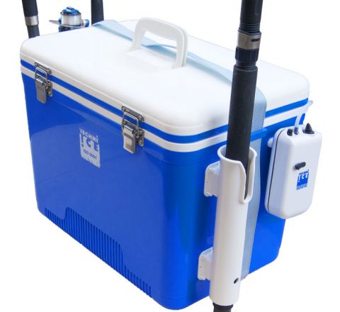 Portable Live Bait Box 28L White Blue + Fishing Rod Holders + Air-compressor