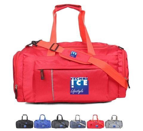 Stylish Travel/Gym Bag with Shoe Compartment (Red; Large)