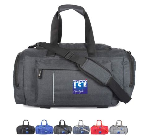 Stylish Travel/Gym Bag with Shoe Compartment (Carbon Black; Large)