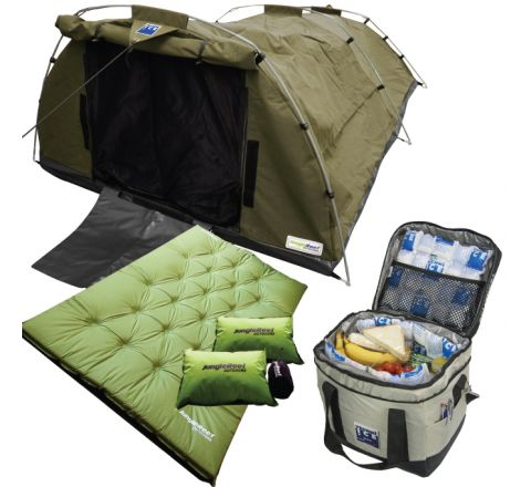 509gsm Ripstop Canvas Double Swag (Khaki) + Self Inflating Double Mattress + 23L Cooler Bag