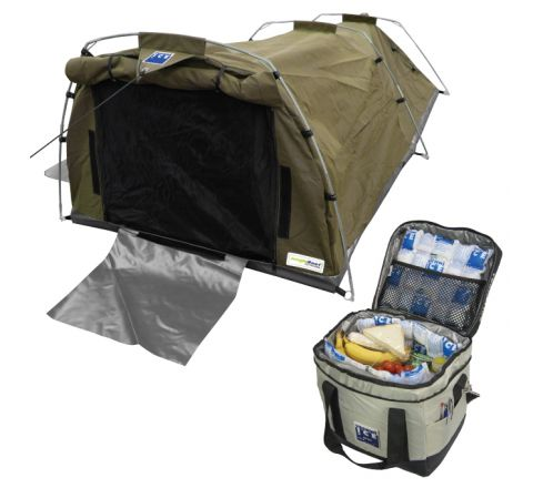 509gsm Waterproof Ripstop Canvas Double Swag (Green) + 13L High Performance Cooler Bag