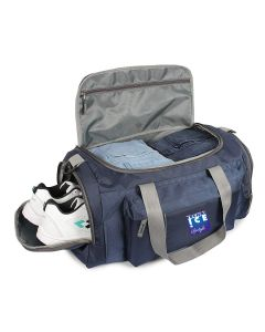 Stylish Travel/Gym Bag with Shoe Compartment (Navy; Large)
